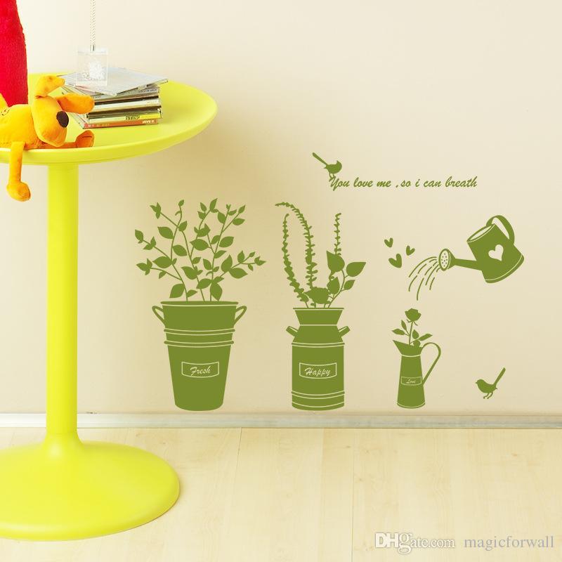 Dibujo a mano de dibujos animados Planta en maceta Flores Sol Nube Calcomanías de pared Ventana de vidrio Decoración Pegatinas Cartel de pared Cubo de metal Bonsai Wallpaper Wallpaper decoración