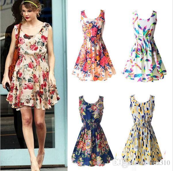 Nouvelle mode femmes Casual Dress Plus Size Cheap China Dress 19 Designs Vêtements pour femmes Mode sans manches Summe Dress Livraison gratuite