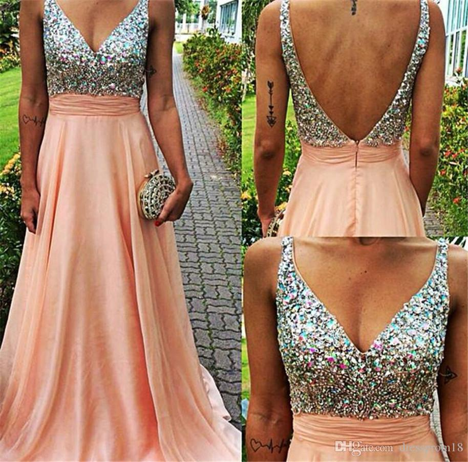 Long Prom Dress 2016 Sparkly Rhinestones Beaded Top V Neck Peach Low ...