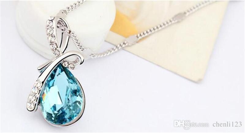 Water Drop Pendientes de cristal collar de regalo 8315 joyería de moda la novia del partido de alta calidad de oro blanco plateado Mujeres elementos de la SWA