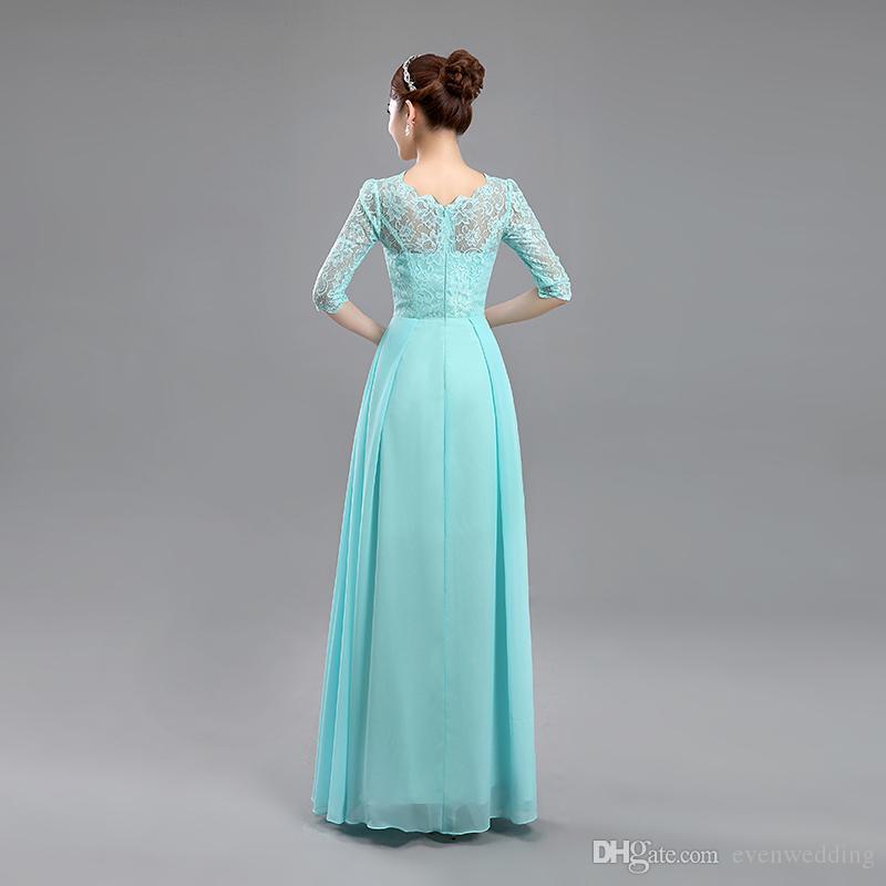 섹시한 목 레이스 쉬폰 신부 들러리 드레스와 반 슬리브 2019 새로운 긴 웨딩 파티 드레스 레이크 블루