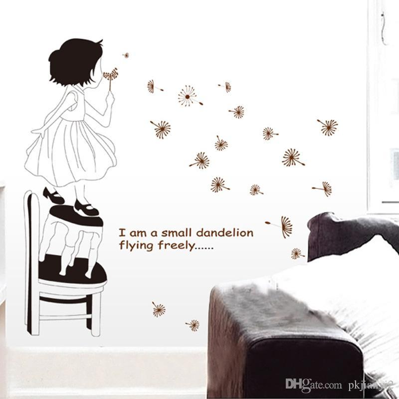 romantic cartoon children's room decor removable wall stickers