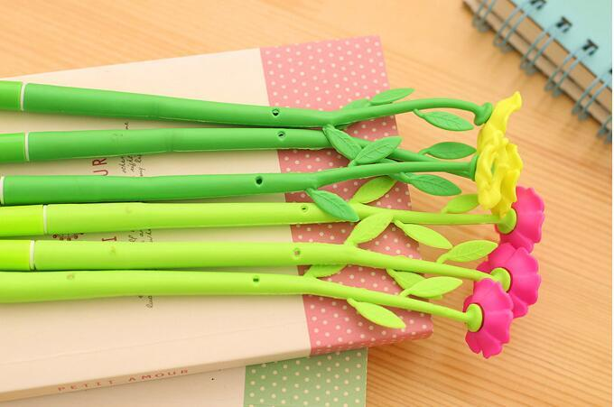 new creative lovely simulation plant flowers soft silicone gel pen black ink gel pens stationery school office Supply