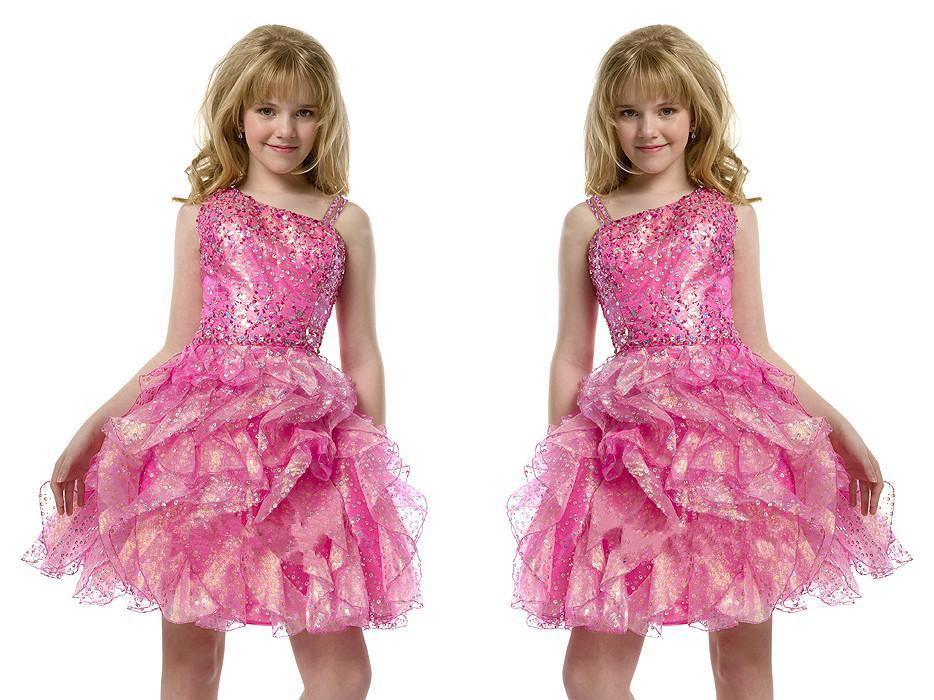 2015 Sequins Pre Teen Short Full Beading Pink Girls Pageant Dresses Pleat Knee Length Little Kids Big Girls Party Gowns