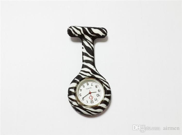 Silikon Krankenschwester Taschenuhr Bonbonfarben Zebra Leopard Prints Softband Brosche Krankenschwester Uhr 11 Muster Anhänger DHL frei