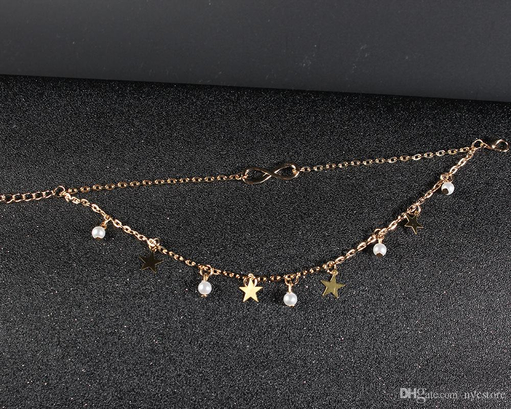 multi-layer 8 design women pearl anklets metal stars gold plated ankle bracelets