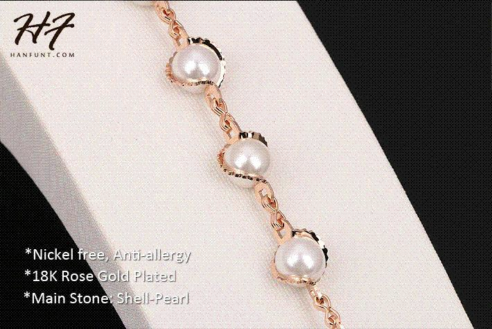 Top Quality Rose Gold Color Imitation Pearl Charm Bracelet Fashion