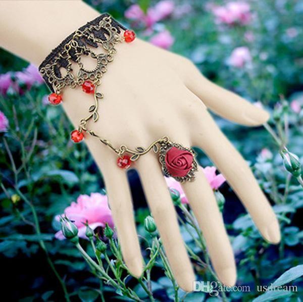 Parmak Yüzük Gelin Evlilik Takı Bileklik bronz Gelin Eldiven kadın beyanı takı Hediye ile Vintage Dantel Çiçek Charm Bilezik