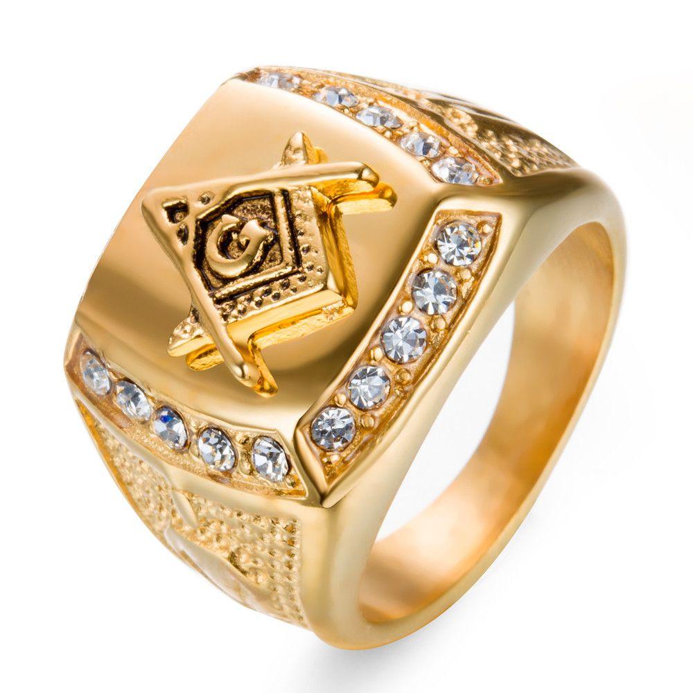 Grosshandel Edelstahl Mann Ring Diamant Gold Freimaurer Ring Ag
