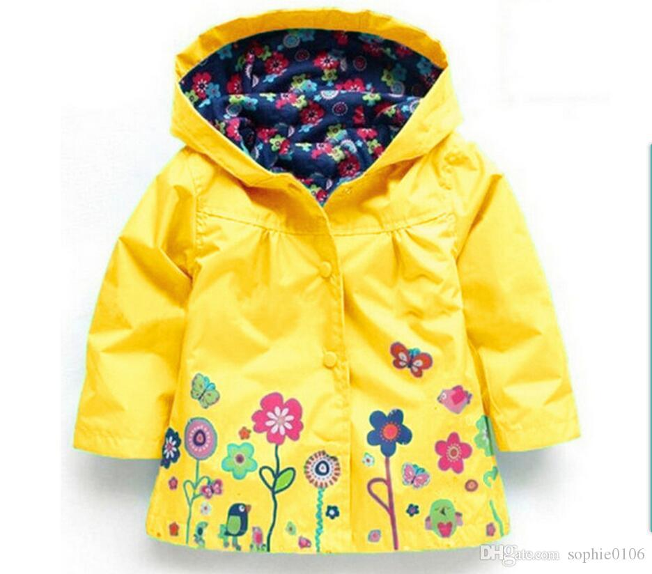 Girls' Floral Rain Coat Girls Beautiful Flowers Windbreaker Jacket ...