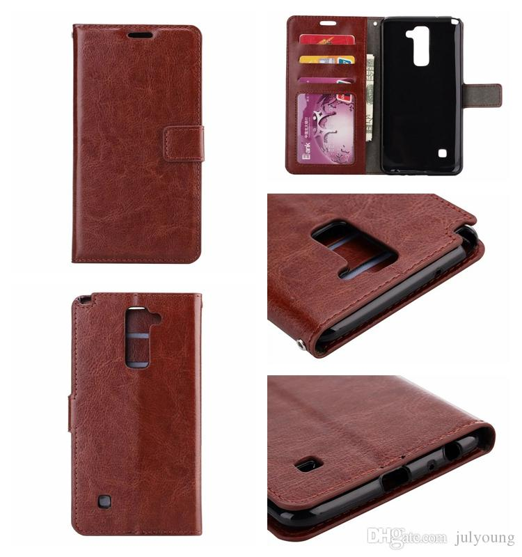 Fashion Flip Cover Crazy Horse Wallet Leather For LG G Stylo 2 Stylus 2 LS775 PU Soft TPU Case Oil Photo Frame Card Purse Pouch Stand Skin