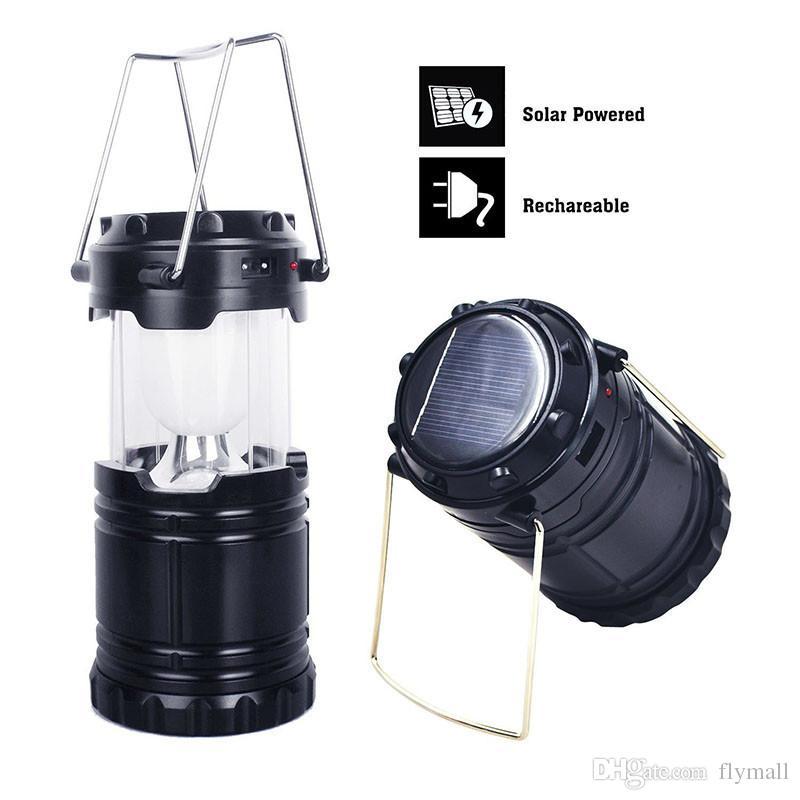 Nouveau extérieur lanternes solaires pliables camping lanterne lampe de poche lampes solaires portables tente lumière USB rechargeable lumière d'urgence