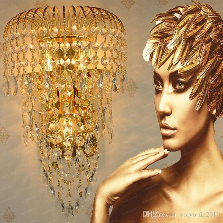 K9 Cristal Arandelas de Parede Luxo Moderno LEVOU Ouro / Prata Lâmpada de Parede Lâmpada de Iluminação Interior Corredor da Cabeceira Corredor Luz LLFA11