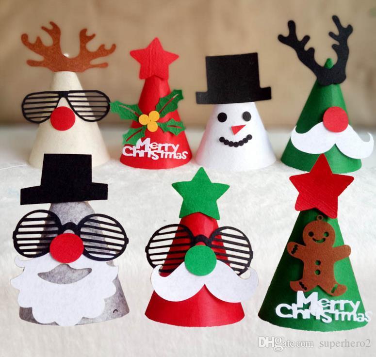Acquista Cappelli Del Partito Fai Da Te Di Natale Tappo Partito Decorazione  A Mano Favore Albero Di Natale Di Renne Di Babbo Natale Cappello Protezione  ... 40cff62ea7b2