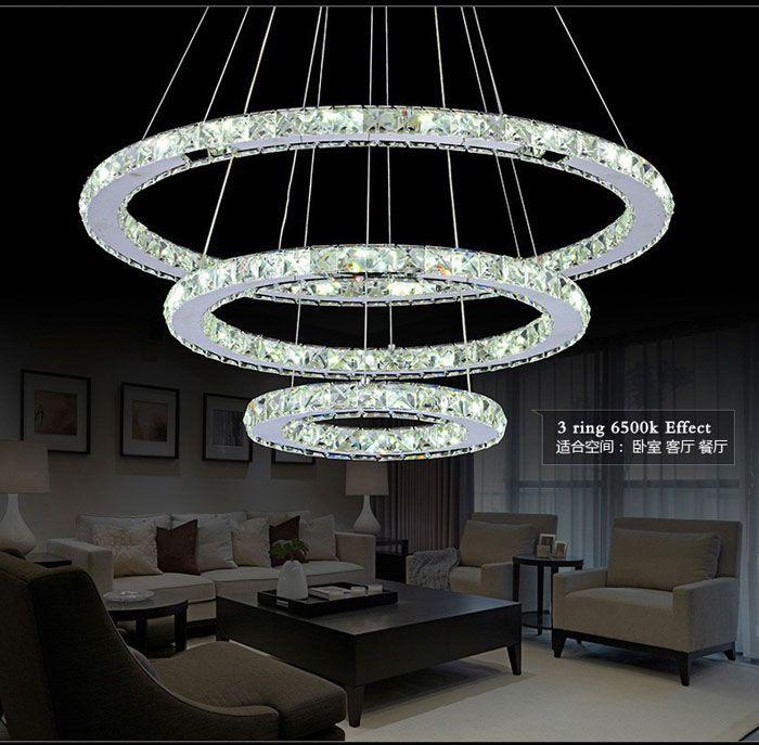3 rings crystal led chandelier pendant light fixture
