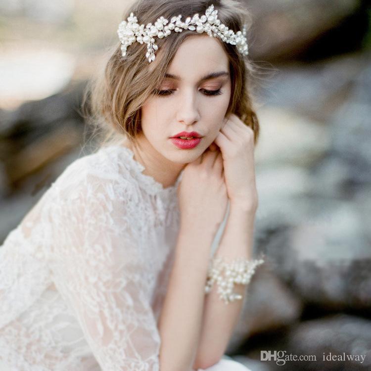 الأزياء النحاس سبائك الزهور كريستال اللؤلؤ الخرز الحرير سلسلة هيرباند الزفاف الزفاف اكسسوارات للشعر مجوهرات