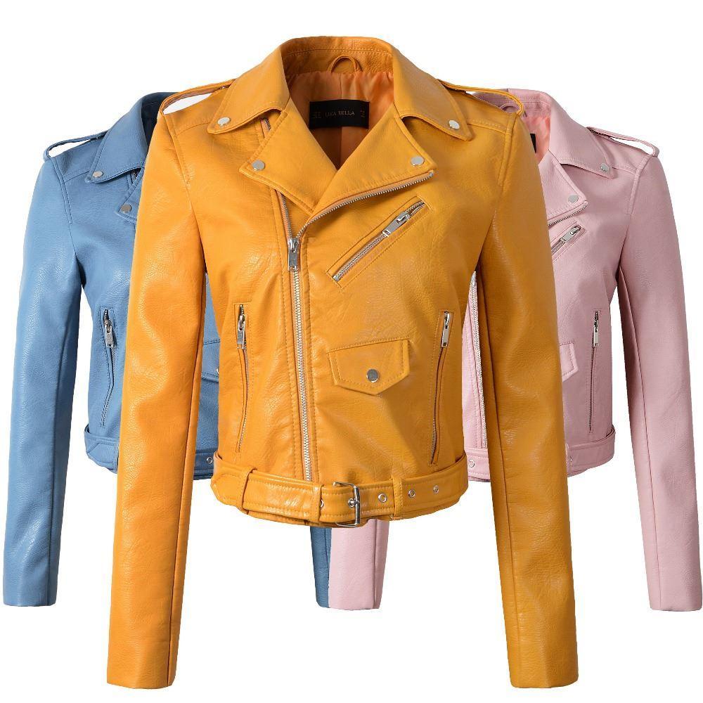 brand new 28526 71c8a Nuovo arrivo 2017 marchio Inverno Autunno Moto giacche giacca di pelle  gialla donne cappotto in pelle sottile PU giacca in pelle