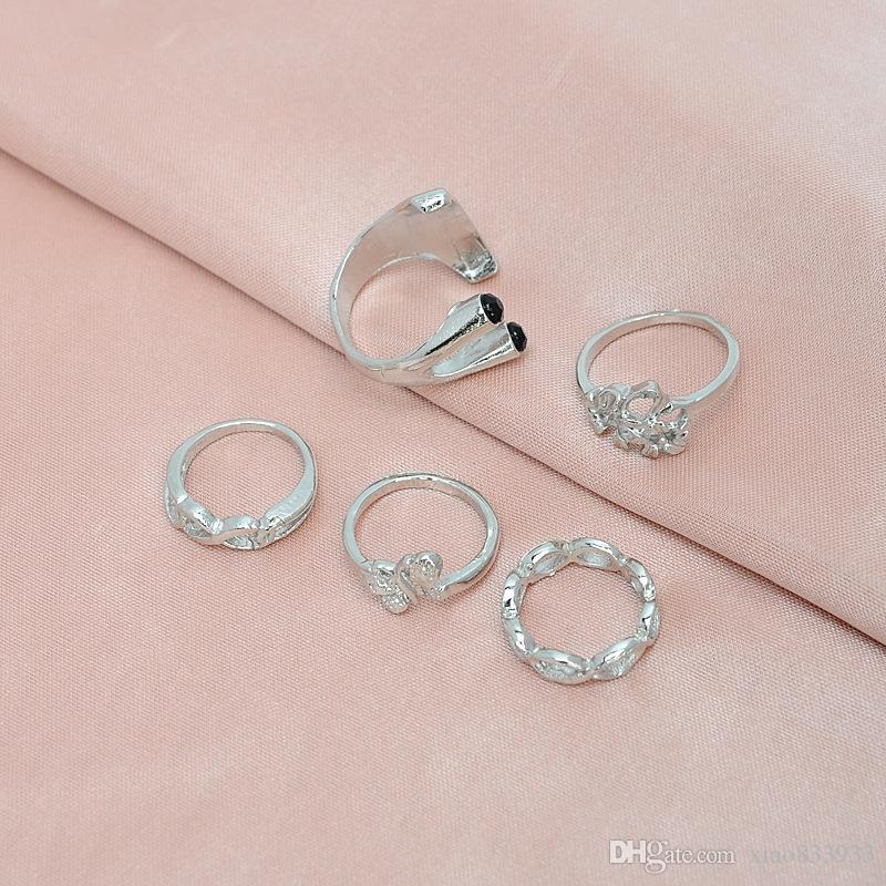 Manufacturers wholesale fashion 5 woolly joint gold-plated ring allergy free collocation ring