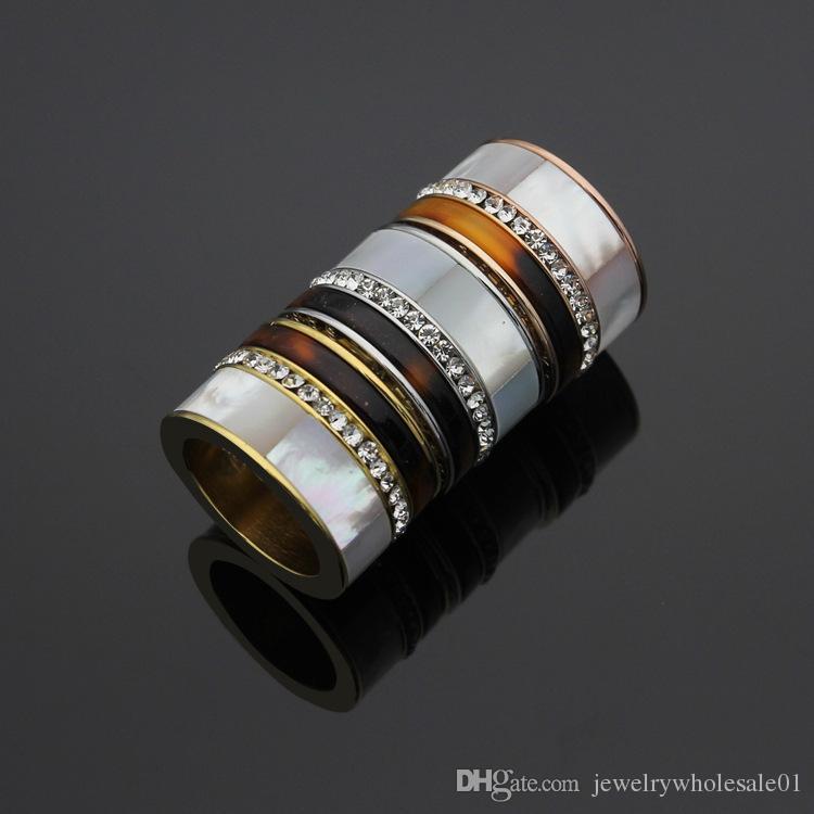 Внешняя торговля ювелирные изделия Оптовая K письмо граненый белый оболочки кольцо один ряд вырезать бумаги кольца 18K Золотое кольцо