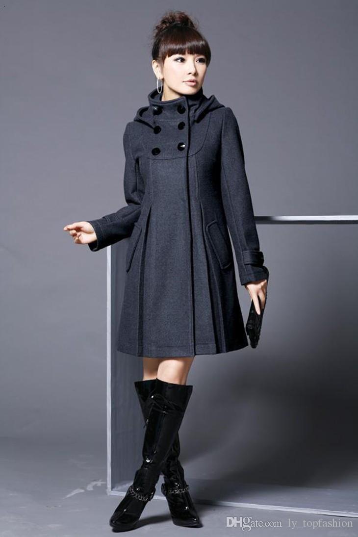 Mujeres Autum Winter Abrigo sólido con sombrero desmontable Mujeres de gran tamaño con capucha Mezclas de lana Abrigos Negro Rojo Gris XS XXXL XL