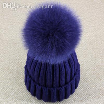 634663ea31d Wholesale Real Fox Fur Pom Pom Women Beanie Hat Hat With Pompom Ball Real  Raccoon Fur Pompon Knit Bobble Hat Couple Ski Cap Wholesale Hats Fur Hats  From ...