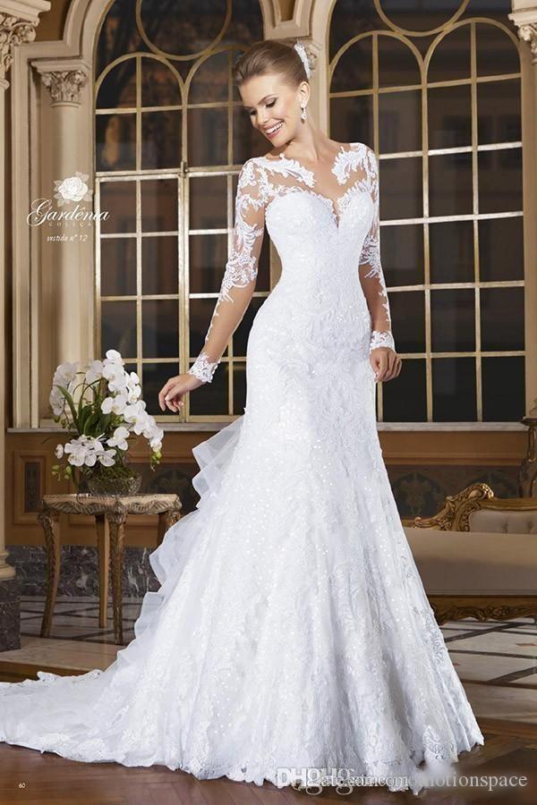 2018ロマンチックな長袖マーメイドのウェディングドレスアップリケレース花嫁のドレスボタンティアードフリルバックヴェスディドデノヴィアローブデマリアージュ