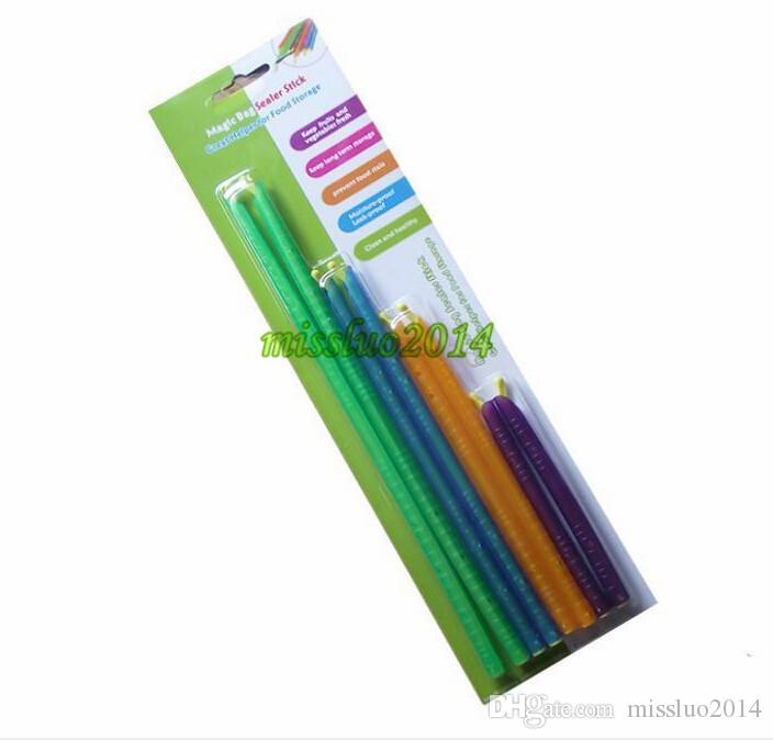 DHL free New Arrival Magic Bag Sealer Stick Unique Sealing Rods Great Helper For Food Storage Sealing cllip sealing clamp clip 100set
