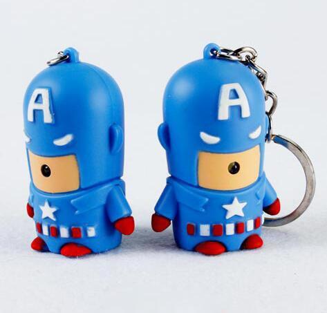 2017 Avengers Captain America led light Keychain flashlight pendant sound creative gift for kids