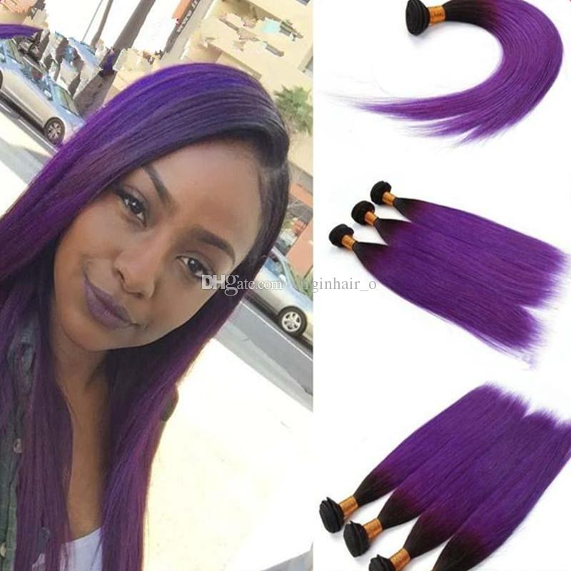 Charming Two Tone 1bpurple Ombre Peruvian Human Hair Extensions 8a