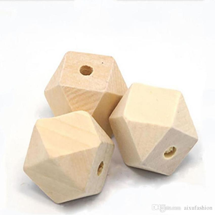 50pcs 10/12/14/16/18/20/25/30mm Natural Unfinished Geometric Wood Beads for Jewelry Making DIY Woden Spacer Bead Craft Material