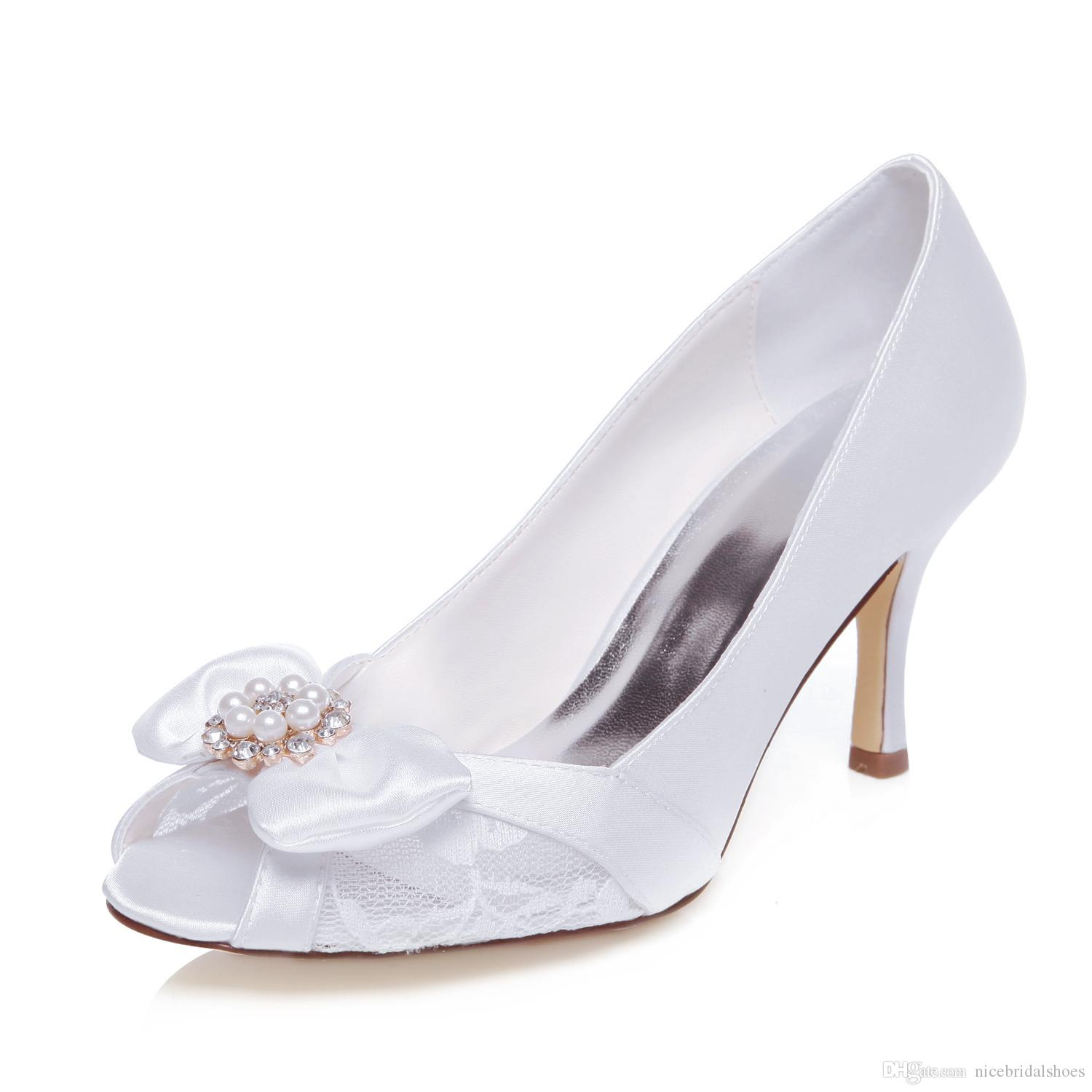 2016 Nice Pearl Bow Shoe Women Wedding Shoes evening shoes High Heel Bridal Shoes Party Prom Women Shoes bridal shoes Size 35-42