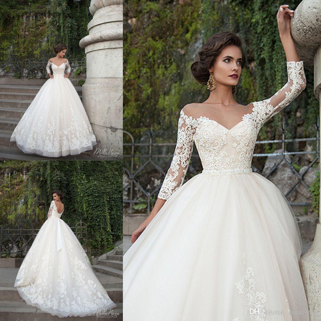 2018 Milla Nova Wedding Dresses Sheer Neck Long Sleeve Beads Bridal Gowns Crystal Sash Vintage Ball Gown Dress Plus Size