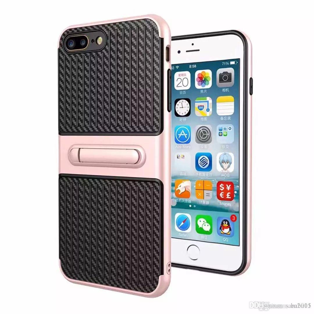 Traveler mobile phone shell carbon fiber stent 2 in 1 fall protection cover for Samsung A3 A5 A7 A310 A510 A710 A320 A520 A720