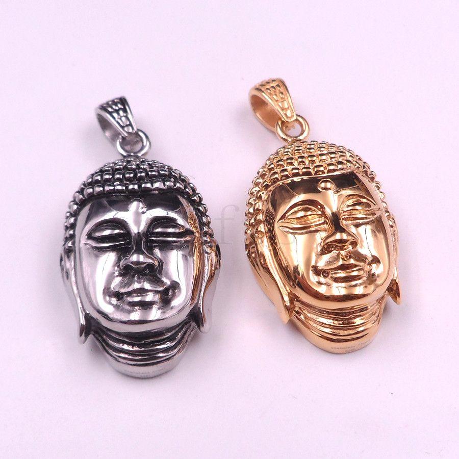 Chaîne de bordure en acier inoxydable bicolore avec breloque Bouddha