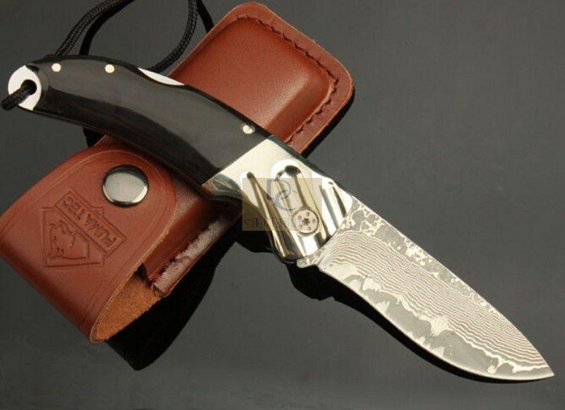 DK041 Coltello chiudibile DAMASCUS fatto a mano DAMASCUS Lama ramato + manico corno Di alta qualità con fodero in pelle