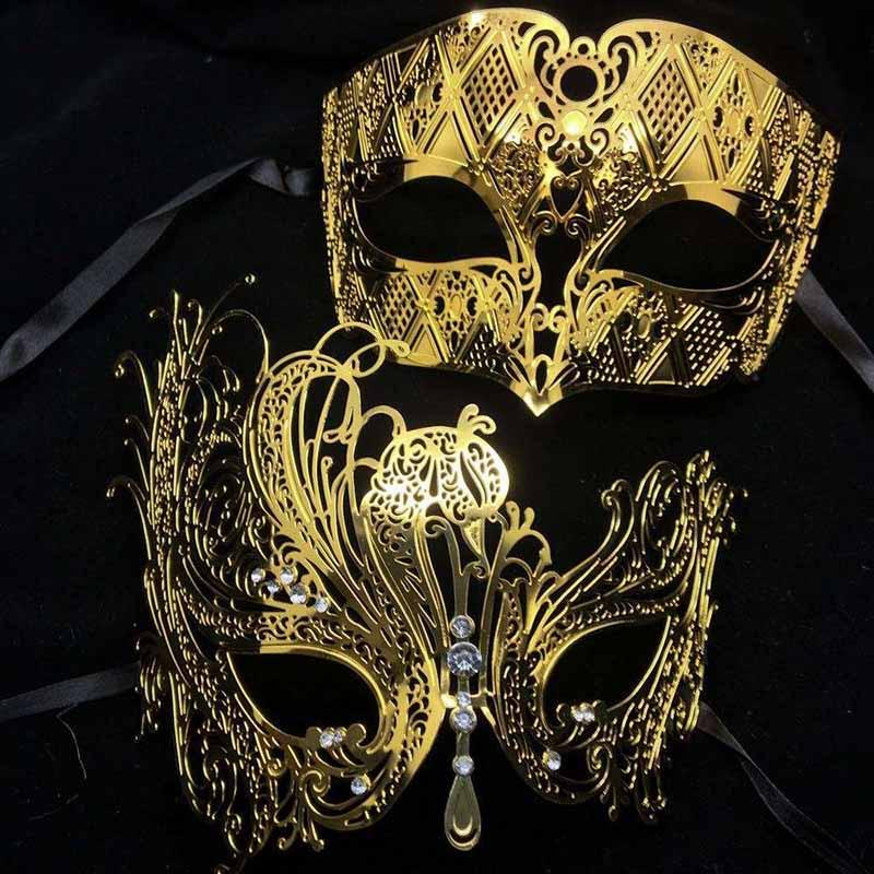 69320425104a Party Masks Black Silver White Gold Diamond Metal Couple Lovers Masquerade  Mask Set Men Women Swan Phantom Halloween Wedding Party Mask Set Masquerade  ...