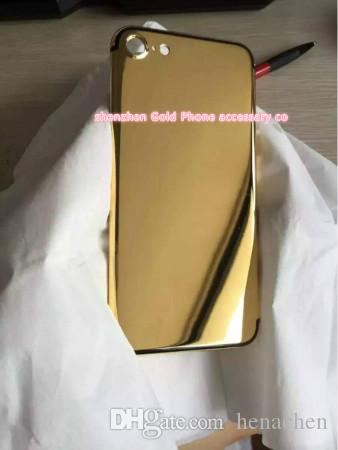 24Kt 24ct real Gold Dubai Plating Back Housing Cover Skin Battery Door For iPhone 7 7+ Luxury Limited Edition 24Kt Golden for iphone7