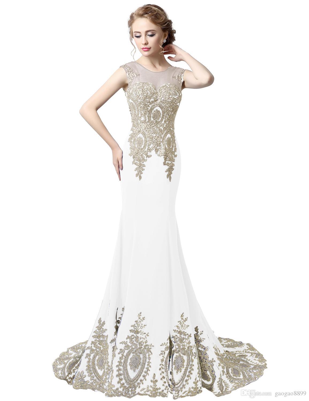 Real Photo Manica lunga o corta da sirena Prom Party Occasion Dresses 2019 Ricamo in oro a prezzi economici Tromba arabo Abito da sera