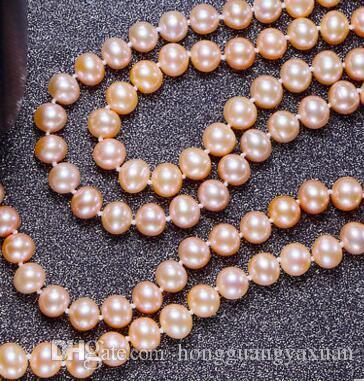 Collier de perles rose 8-9 mm rond chaîne multicouche de 180 mm de long collier de perles