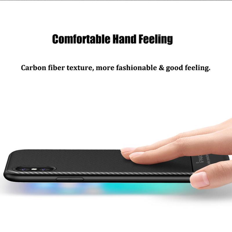 De luxe Retour Mat Mat Silicone Transparent TPU Cas Pour iPhone X Texture De Fibre De Carbone Brossé Couverture de Téléphone pour iPhone 10 DHL Gratuit SCA333