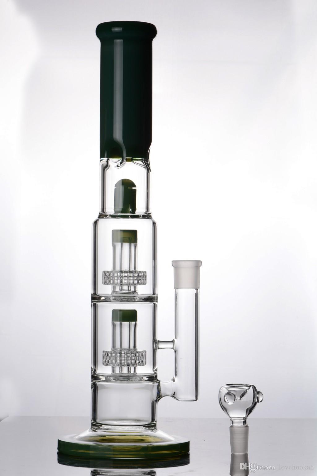 tubo dritto tipo 16 pollici verde spesso bong acqua vetro bong dab rig recycler oil rig tubi spedizione gratuita rigs