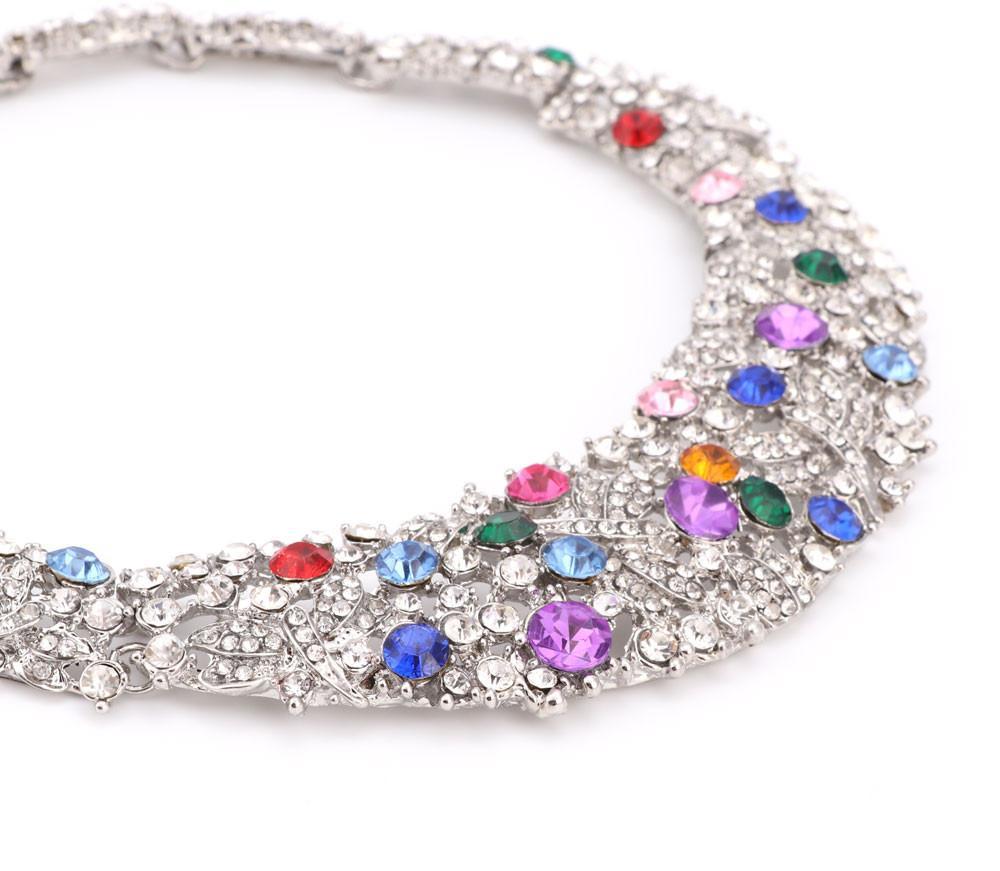 2 цвета модные прямые продажи ювелирные наборы женщин ожерелье для партии свадьба Boho Кристалл заявление ожерелье с серьги 2016