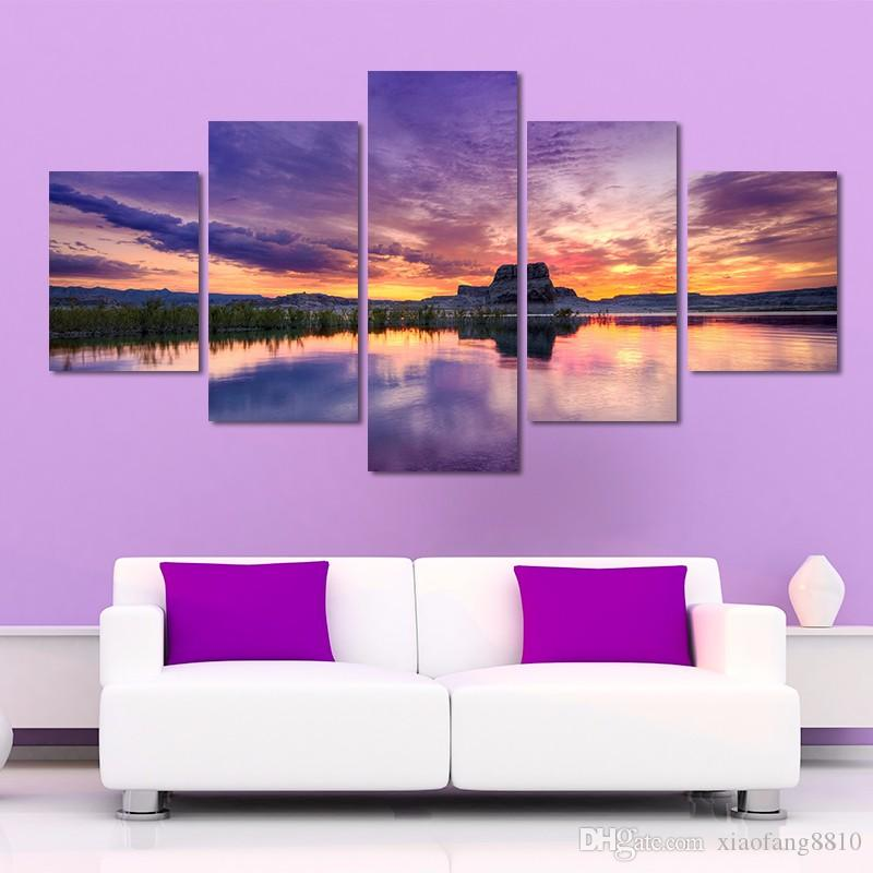 Big size purple sky wall art pictures sunset lake mountains landscape gold dusk Canvas Painting living room unframed