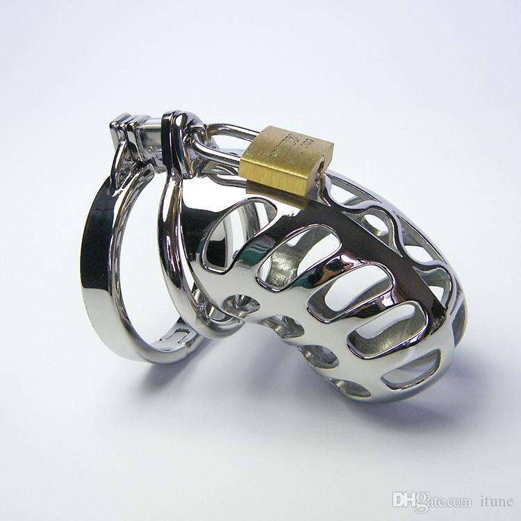 Gabbia di acciaio inossidabile con denti anello di castità Dispositivo di gabbia di cazzo con anello a scatto e lucchetto Giocattoli sessuali uomini maschi di schiavitù 949 plus