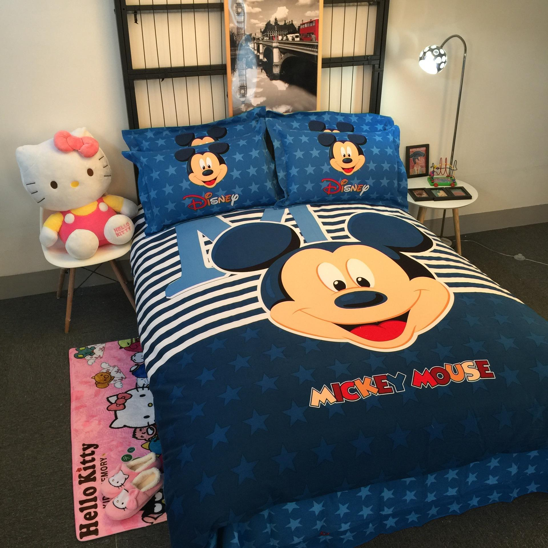 Hello kitty bedsheet blue - Minnie Mickey Mickey Mouse Hello Kitty Cartoon Twin Full Queen Size Cotton Bedding Set Bedclorthes Set Sheet Duvet Cover Pillowcase Duvet Covers On Sale