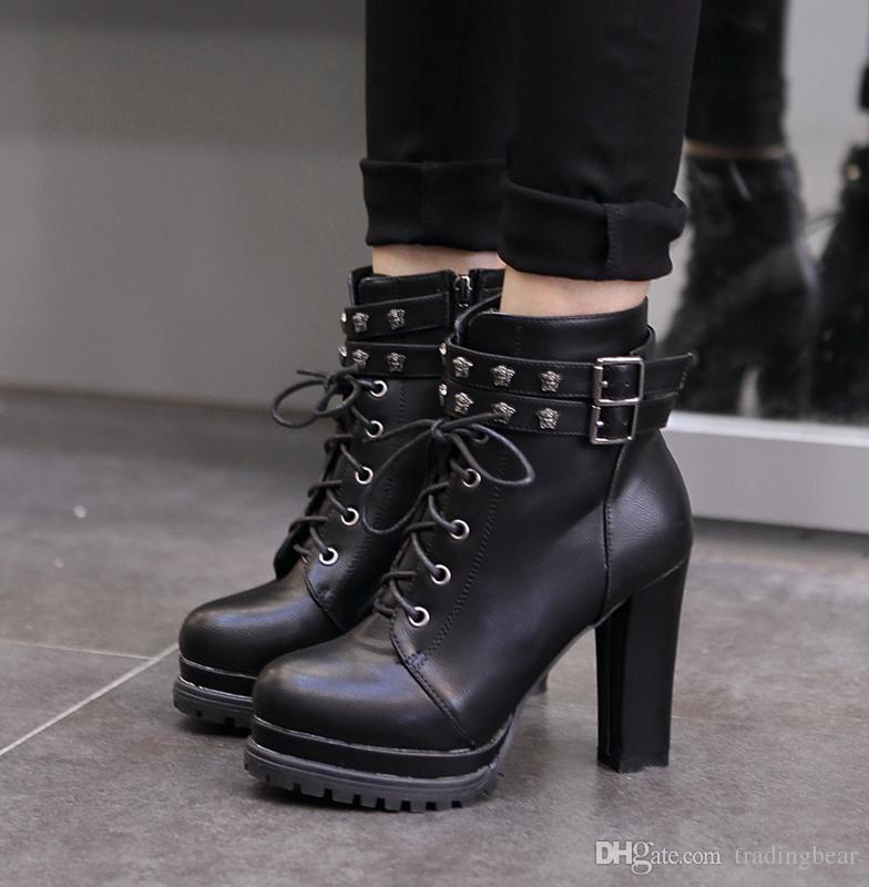 Großhandel Sexy Brown Schwarz PU Leder Schnallen Hohe Plattform Chunky  Heels Lace Up Stiefel Mode Herbst Stiefel Für Frauen 2017 Größe 34 Bis 39  Von ... 69416f6208