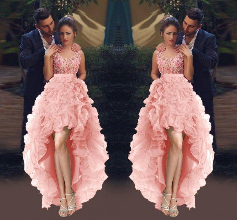 3d Applique High Low Prom Dresses 2017 Spring Organza Ruffles Pink ...