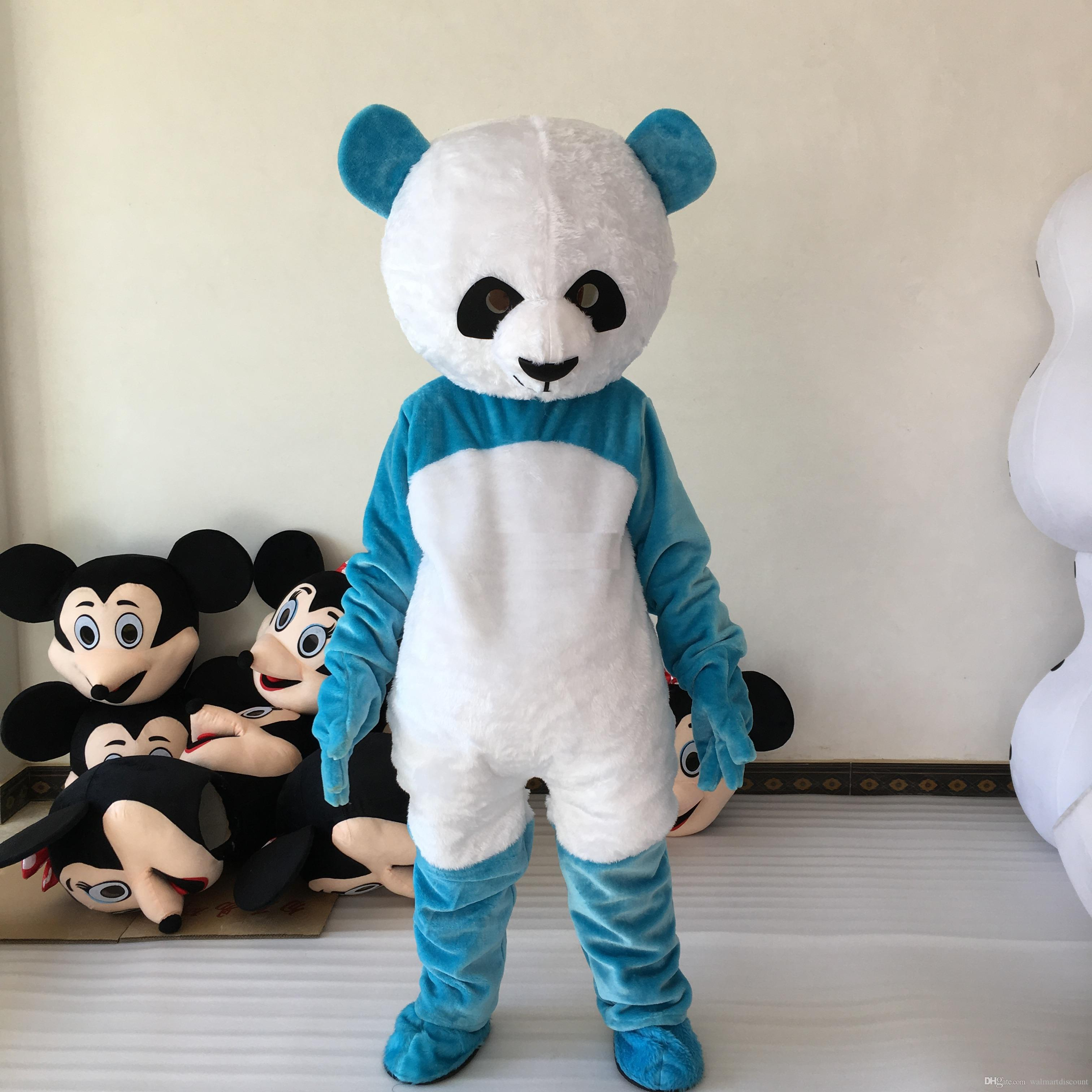 2017 Factory direct sale blue panda mascot costume Christmas Halloween animal funny bear mascot Costume Adult Size