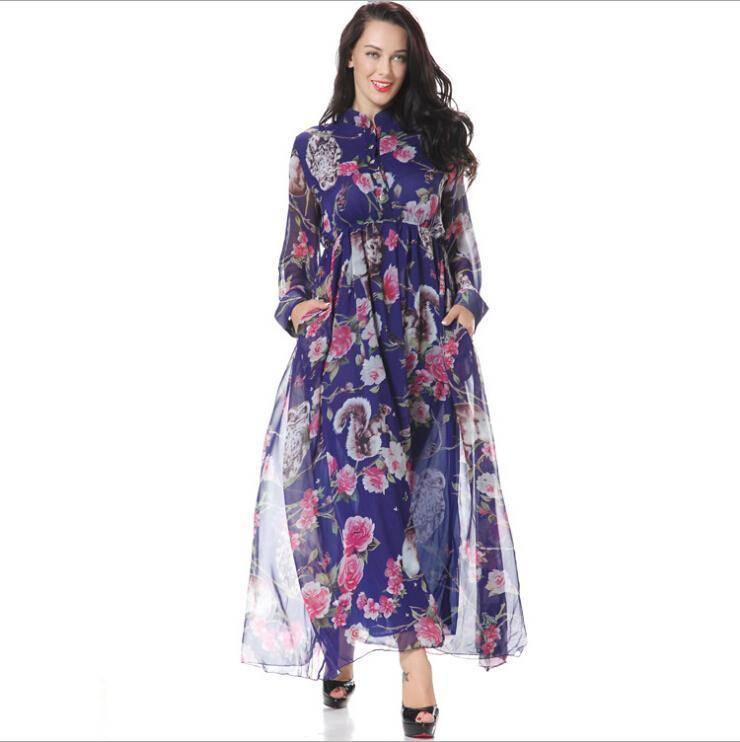 a1a701035f5 Nice Spring New Chiffon Casual Dresses For Womens Fashion Print Floral  Stand Collar Long Sleeved With Pocket Maxi Dress Plus Size M 6XL Black  Women Clothing ...