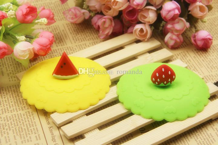 DHL Shipping Free Lovely Fruit Shape Watertight Silicone Cup Lid Cover Mug Cap Block dust Leakproof Lid Mix fruits sets is ok